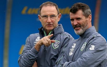 Republic of Ireland manager Martin O'Neill (left) and assistant coach Roy Keane during a training session at Gannon Park, Dublin. PRESS ASSOCIATION Photo. Picture date: Tuesday October 6, 2015. See PA story SOCCER Republic. Photo credit should read: Brian Lawless/PA Wire.