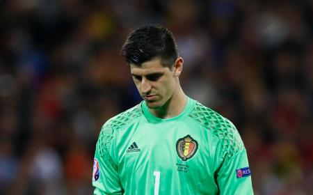 Football Soccer - Belgium v Italy - EURO 2016 - Group E - Stade de Lyon, Lyon, France - 13/6/16 Belgium's Thibaut Courtois looks dejected REUTERS/Jason Cairnduff Livepic