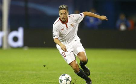 Sevilla's Samir Nasri controls the ball during the Champions League Group H soccer match between Dinamo Zagreb and Sevilla, at the Maksimir stadium in Zagreb, Croatia, Tuesday, Oct. 18, 2016. (AP Photo/Darko Bandic)