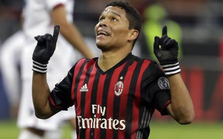 AC Milan's Carlos Bacca celebrates after scoring the winning goal during a Serie A soccer match between AC Milan and Cagliari, in Milan's San Siro stadium, Italy, Sunday, Jan. 8, 2017. (AP Photo/Luca Bruno)