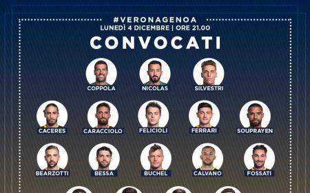 Verona convocati vs Genoa