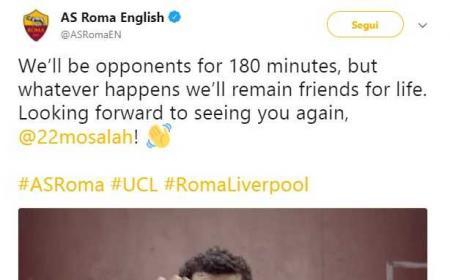 Salah saluto Twitter Roma Liverpool